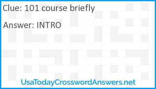 101 course briefly Answer