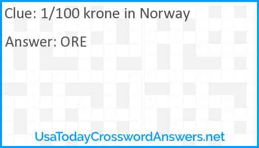 1/100 krone in Norway Answer