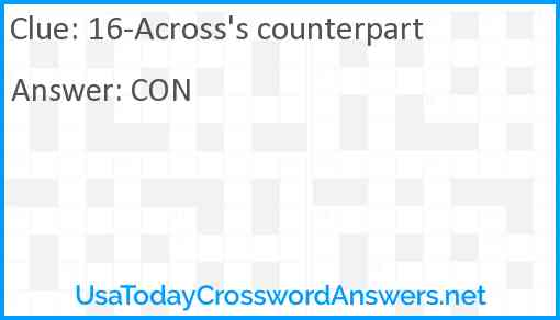 16-Across's counterpart Answer