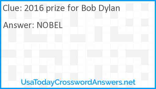 2016 prize for Bob Dylan Answer