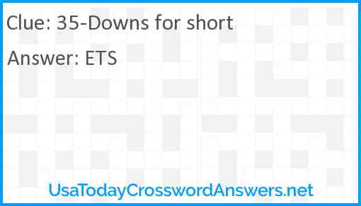 35-Downs for short Answer