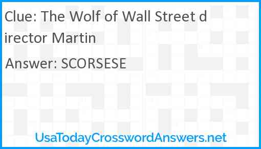 The Wolf of Wall Street director Martin Answer