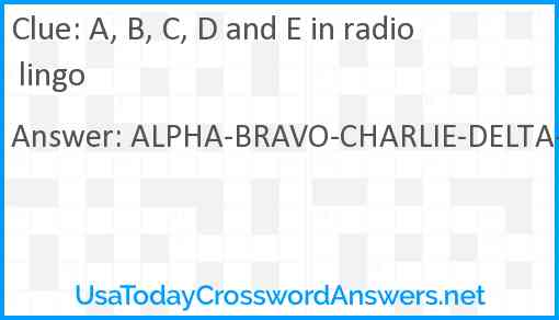 A, B, C, D and E in radio lingo Answer