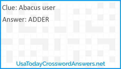 Abacus user Answer