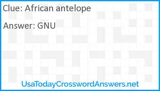 African antelope Answer