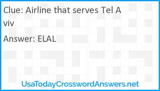 Airline that serves Tel Aviv Answer