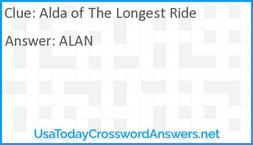 Alda of The Longest Ride Answer