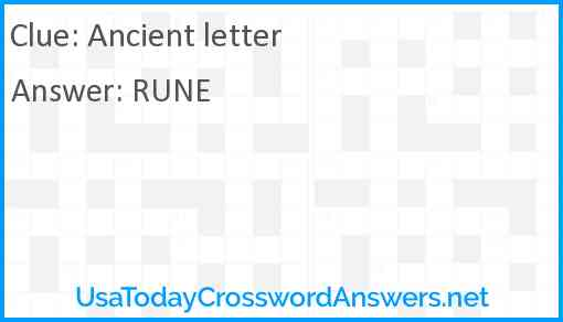 Ancient letter Answer