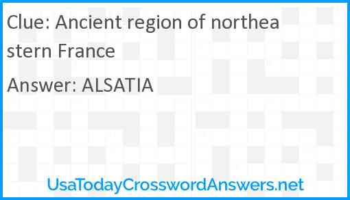 Ancient region of northeastern France Answer