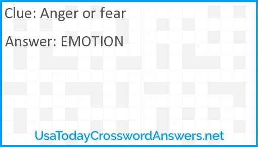 Anger or fear Answer