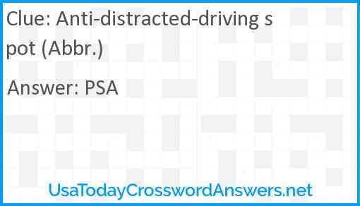 Anti-distracted-driving spot (Abbr.) Answer