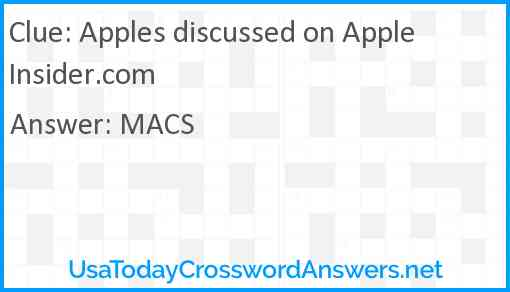 Apples discussed on AppleInsider.com Answer