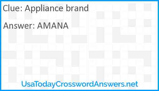 Appliance brand Answer