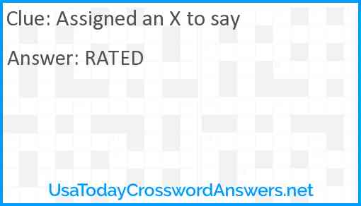 Assigned an X to say Answer