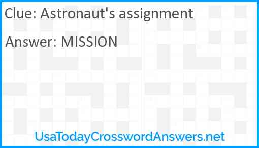 Astronaut's assignment Answer