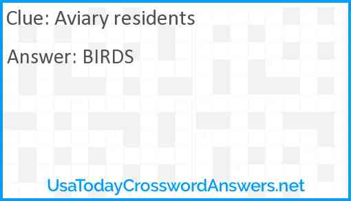 Aviary residents Answer