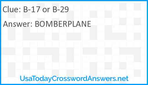 B-17 or B-29 Answer