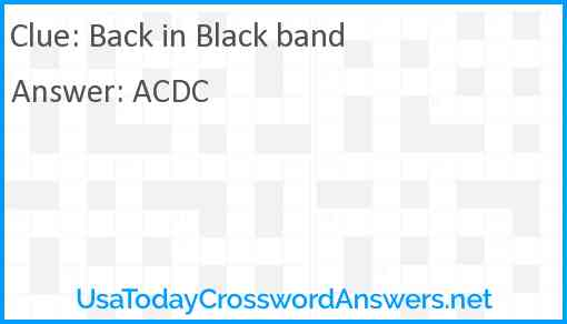 Back in Black band Answer