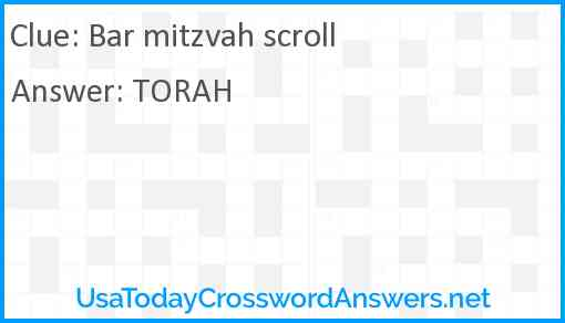 Bar mitzvah scroll Answer