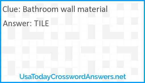 Bathroom wall material Answer