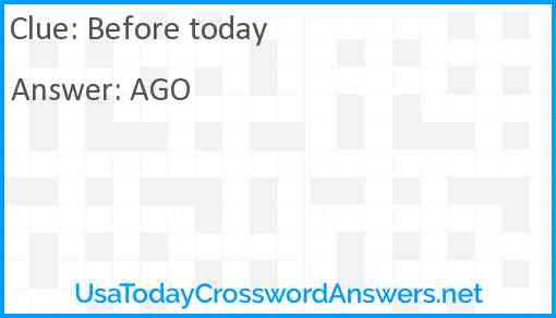 Before today Answer