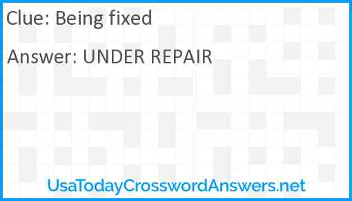 Being fixed Answer