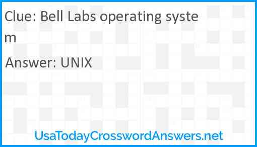 Bell Labs operating system Answer