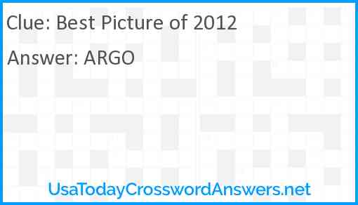Best Picture of 2012 Answer