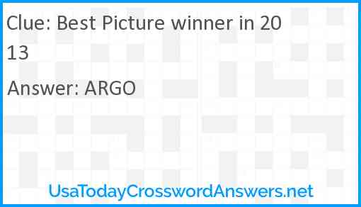 Best Picture winner in 2013 Answer
