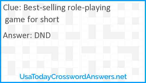 Best-selling role-playing game for short Answer