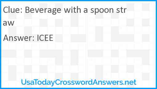 Beverage with a spoon straw Answer