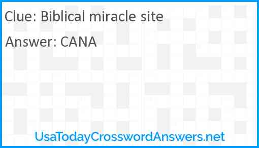Biblical miracle site Answer