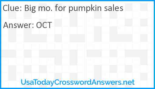 Big mo. for pumpkin sales Answer
