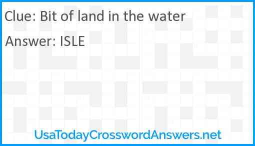 Bit of land in the water Answer