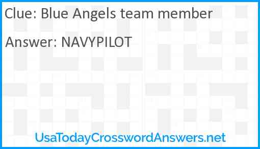 Blue Angels team member Answer