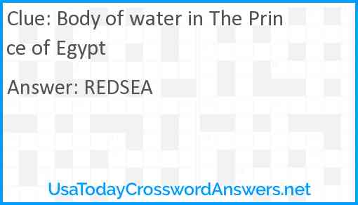 Body of water in The Prince of Egypt Answer