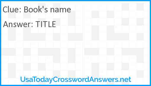 Book's name Answer