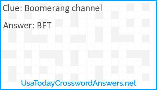 Boomerang channel Answer