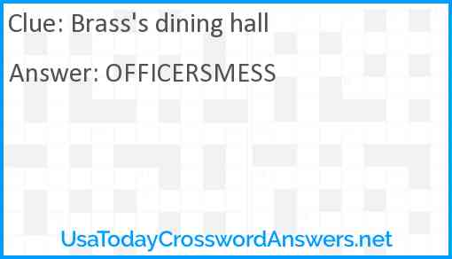 Brass's dining hall Answer