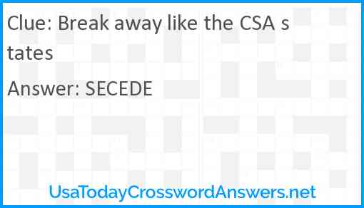 Break away like the CSA states Answer