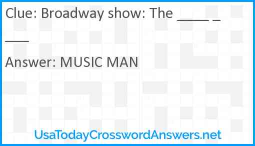 Broadway show: The ____ ____ Answer