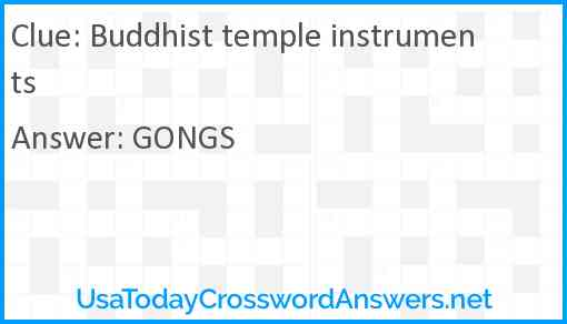 Buddhist temple instruments Answer