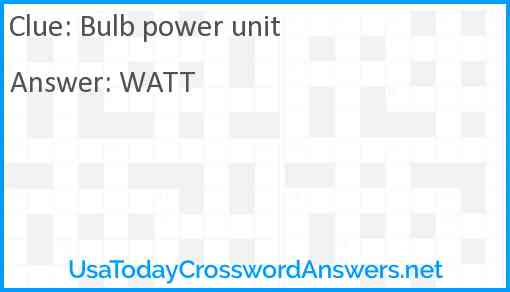 Bulb power unit Answer