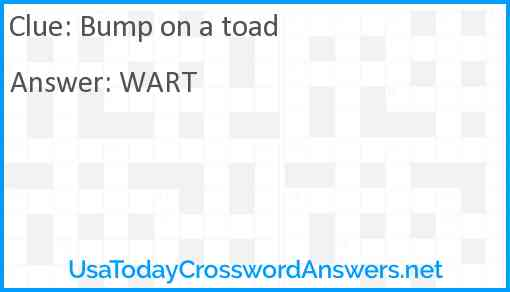 Bump on a toad Answer