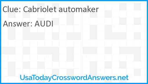 Cabriolet automaker Answer