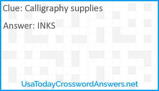 Calligraphy supplies Answer