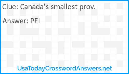 Canada's smallest prov. Answer