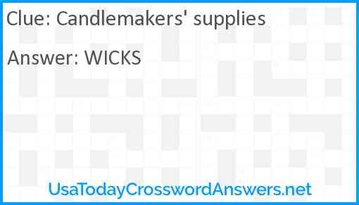Candlemakers' supplies Answer