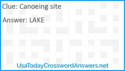 Canoeing site Answer