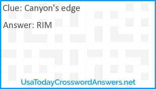 Canyon's edge Answer